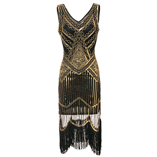 1920er Flapper Kleid Art Deco Frauen Great Gatsby V Ausschnitt Perlen Vintage inspirierte Midi Dress für Prom Party Black Gold