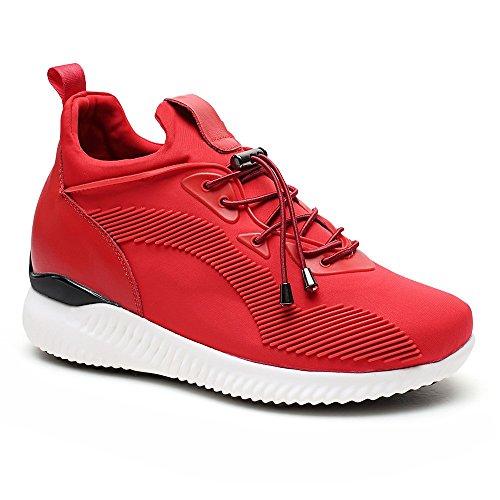 CHAMARIPA Lift Sneakers Sport Chaussures légères décontractées avec talon de levage caché pour femmes Noir / Rouge -7cm Taller-W71W90V192D Rouge