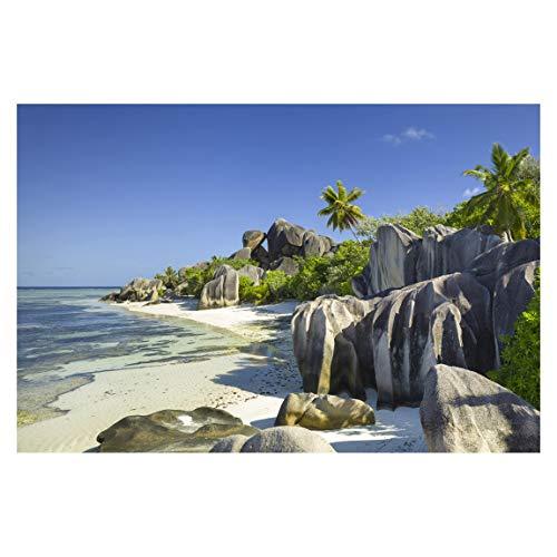 Fototapete selbstklebend - Traumstrand Seychellen - Wandbild 320 x 480 cm