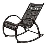 Schwarz Schaukelstuhl Erwachsene Recliner Sessel Nickerchen Stuhl Balkon Wicker Chair Lounge Chair Ältere Stuhl Sessel Einsitzer Rocker Seat Gartenschaukel Stuhl