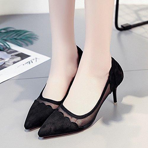 RUGAI-UE Estate poco profonda punta tacco alto scarpe comode scarpe da donna Black