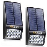 Itscool Solarleuchte Außen, Solar Sicherheitsleuchte 15 Stück LED mit Mikrowellen Bewegungsmelder für Garten (2 Stück) (Schwarz)