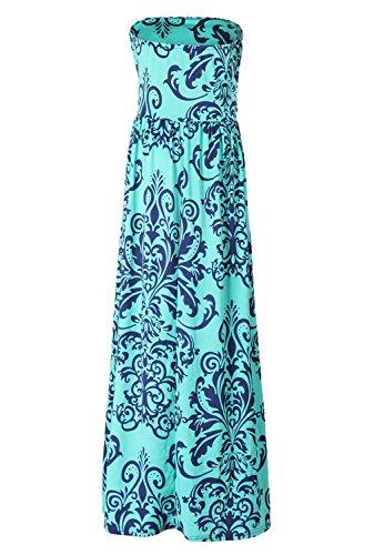 iMELY Damen Bandeau Kleider Printed Schulterfrei Sommer Strandkleid Grün