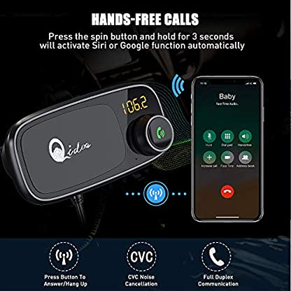 Bluetooth-FM-Transmitter-mit-Auto-Halterung-QC-30-Wireless-FM-Radio-Adapter-MP3-Musik-Player-Untersttzt-64GB-TF-Karte-Dual-USB-Bluetooth-Zigarettenanznder-Kfz-Ladegert-1M-Kabel-Magnethalter