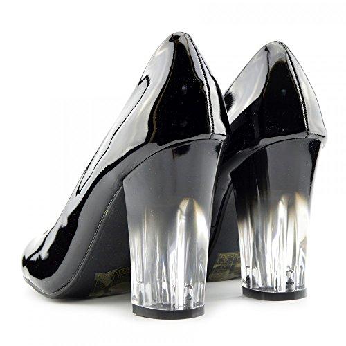 Kick Footwear - Donna Vernice Nero Chiaro Block Heel Punta Rotonda Tribunale Ufficio Di Calzature Da Lavoro Vernice Nera