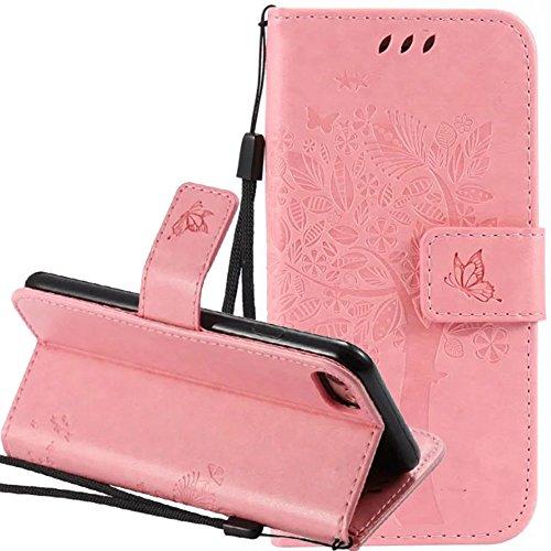 Nnopbeclik Coque Iphone 7 Plus Apple Mode Fine Folio Wallet/Portefeuille en Bonne Qualité PU Cuir Housse pour Iphone 7 Plus Coque Cuir (5.5 Pouce) [Antichoc] Chat et Arbre Style Papillon de Gaufrage M pink