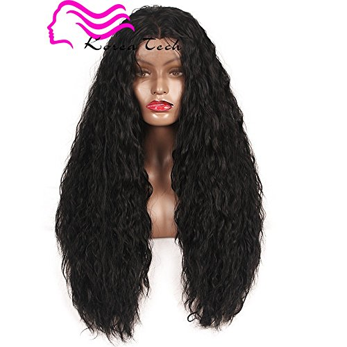 Korea Tech Lace Front Wig 250%Density Synthetic Wig Loose Curly Wave Heat Resistant Fiber Wig Nature Color With Baby Hair For Black Women(26