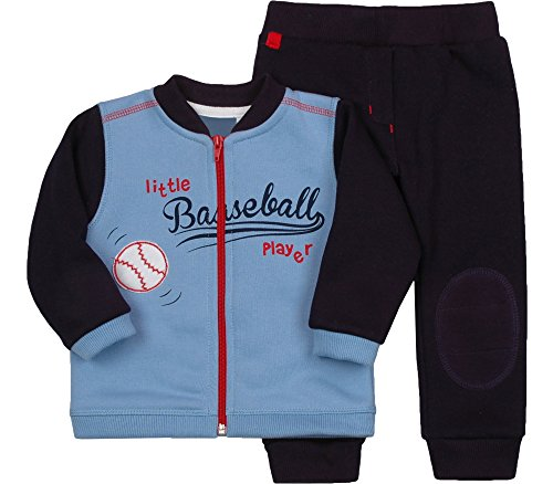 Be Mammy Jungen Set Sweatshirt und Hose Baseball 2311 (Blau/Marine Blau, 80) (Baby Baseball Shirt)