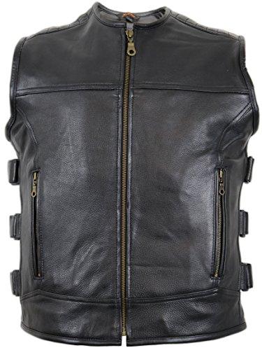 Custom Lederweste aus echtem Leder (2XL) (Biker Weste Rock Leder)