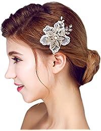 YAZILIND elegante tocado de belleza de la mujer nupcial de la boda broche de pelo de fiesta de encaje de flores de aleacion de las mujeres accesorios (1 PC)