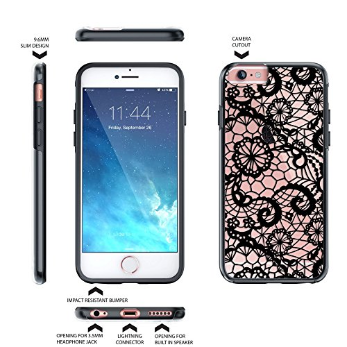 iPhone 6 6S Fall, Hülle, Case True Color® Lace & Damast Muster Collection Gedruckt Auf Transparent Hybrid Hard + Soft Slim Dünn; Schutz stoßfest TPU Bumper Cover Lace Black
