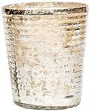 Insideretail 700452-7-12 Teelichthalter, gerippt mit Distressed Blattsilber, 7 cm, 12-er Set, mercury Glas silber