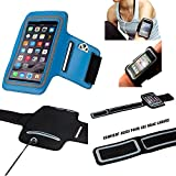 MP-France Samsung Galaxy Note 8 Brassard Sport Neoprene pour Telephone Portable (Smartphone) Course A Pied Randonnée Running Scratch Reglable - Activite Sportive - Bleu