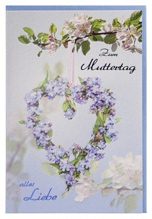 Muttertagskarte Alles Liebe Herz aus Vergissmeinnicht