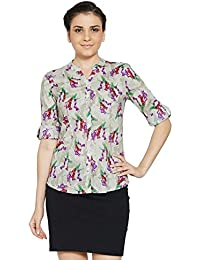 Bombay High Women's 100% Cotton Rollup Sleeves Floral Print Shirt