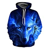 Unisex Jungen 3D Druck Kapuzenpullover Tops Fashion Hoodie Pullover Hooded Sweatshirt (Small/Medium, Wolf blau)