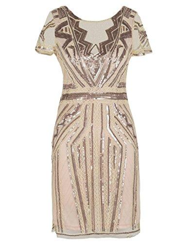 kayamiya 1920er Jahre Kurze Ballkleider V-Ausschnitt inspiriert Pailletten Cocktail Gatsby Kleid mit Ärmel L Champagner