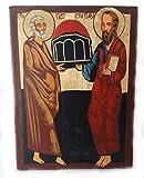 St. Peter und St. Paul handbemalt Christian Icon auf Holz, NEU