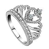Amstt Damen M?dchen Engagement Ring 925 Sterling Silber Krone Prinzesskronenring (DE 16.5 (51.9mm)