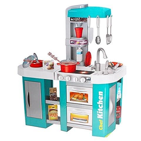 deAO Chef Küche Spielset Kinder-Rollenspiele mit Klängen und Licht - Funktionen -Enthält 30 Zubehör (Küche Pretend Spielset)