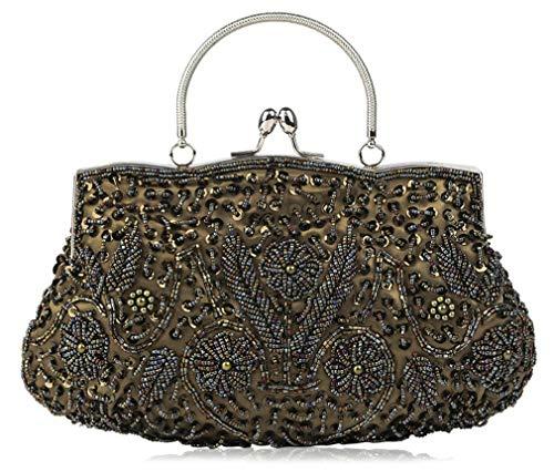 MaoDaAiMaoYi Handtaschen Damen Clutch High End Vintage Elegant Festlich Party Abendtasche Handtasche Mode Living Lady Abend Schöne Trendy Edles Clutch Bag (Color : Bronze, Size : One Size) -