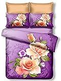 DecoKing Premium 01097 Bettwäsche 135x200 cm mit 1 Kissenbezug 80x80 lila 3D Microfaser Bettbezug Bettwäschegarnitur Blumen Blumenmuster violett Pflaume violet lilac plum creme ecru rosa pink Candice