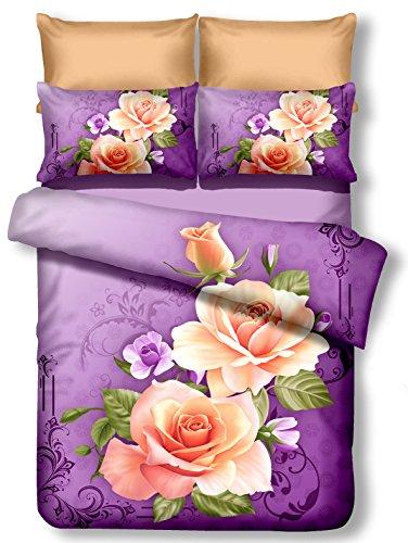 DecoKing Premium 01103 Bettwäsche 155x220 cm mit 1 Kissenbezug 80x80 lila 3D Microfaser Bettbezug Bettwäschegarnitur Blumen Blumenmuster violett Pflaume violet lilac plum creme ecru rosa pink Candice