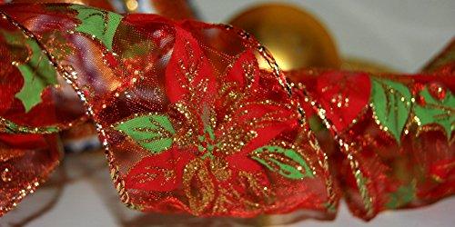 Ribbon Queen Nastro in organza rossa bordata, decorato con stelle di natale e agrifoglio, nastro natalizio in stile vintage, 9,14 metri di lunghezza per 5,3cm