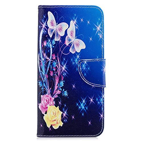 LG K50 Hülle für LG K50 Handyhülle Case Schutzhülle 3D Gemalt PU Leder Wallet Magnet Flipcase Cover Schutzhülle Ledercase Bookstyle Tasche Ständer Handytasche Handycase für LG K50 Lila Schmetterling