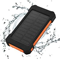 FLOUREON 10,000mAh Solar charger Power Bank Portable Phone Charger External Battery Charger with Dual 2.1A USB LED Flashlight Output Charging for Smart Phone,Tablet and More (Orange)