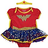 DC Comics Body Vestido de Verano de Wonder Woman con Capa y Tiara - Disfraz de Fantasía de Superhéroina para Bebé Niñas, Rojo 6-9 Meses