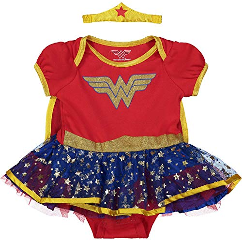 DC Comics Wonder Woman Baby Mädchen Kostüm Body Kleid mit Tiara Stirnband & Cape, Gold 12 Monate (Gold Tiara Kostüm)