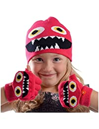 Garçons ou Filles Cute Monster Beanie Woolly chapeau et mitaines gants cadeau ensemble GL902