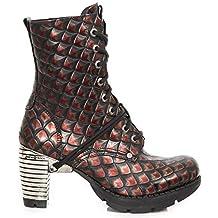New Rock M.TR001X-S15 Mujer Chica Botines Morado Lila Tacón Cordones Punk Heavy