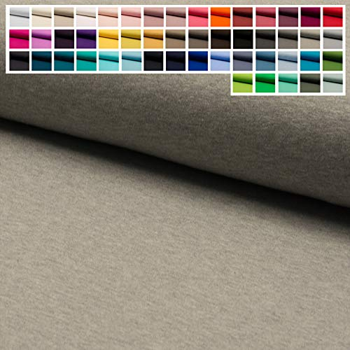 Vorrätig Kostüm - Jersey Stoff Uni Oeko-Tex Meterware ab 25 cm - einfarbiger Jersey in vielen Farben (27. Hellgrau Meliert Natur)