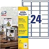 Avery J4773-10 Etichette in Poliestere Bianco, 24 Pezzi per Foglio, Stampanti Inkjet, 10 Fogli, 63.5 x 33.9, Bianco