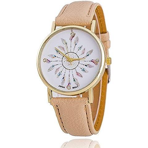 bysor (TM) pastello Acchiappasogni con cinturino in pelle Faux oro quadrante donne orologio al quarzo relogio feminino aw1682 - Chronograph Beige Dial