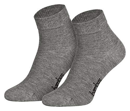 Piarini Gr. 47-50 6 Paar Bambussocken Herren-Socken kurz antibakteriell grau