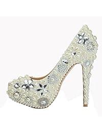SYYAN Mujeres Cuero Perla Diamantes De fantasía Hebilla Cuadrada Cristal Hecho A Mano Plataforma Bomba Damas De Honor Zapatos De Boda , silver , 41