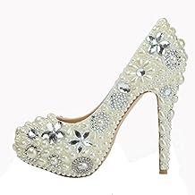 cristal zapatos de las mujeres delgadas tacones altos hechos a mano de novia de cuero damas de honor de la fiesta de bodas nightclub evening bombas blancas pearl diamond sandalias . white . 37