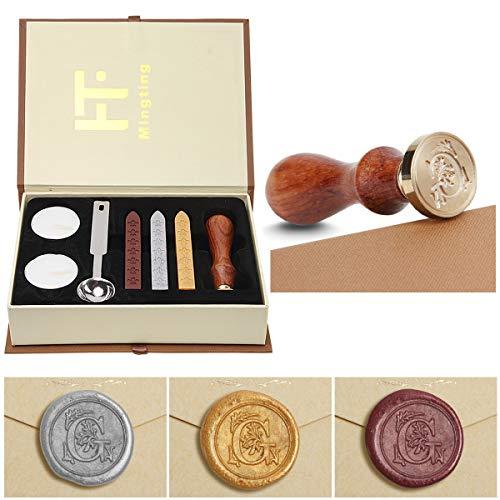 PUQU, kit per sigillo in cera, stile vintage, con lettere per iniziali (A-Z), kit con timbro per sigillo e cera, set regalo, personalizzabile