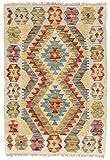 CarpetFine: Kelim Afghan Teppich 63x90 Beige - Geometrisch