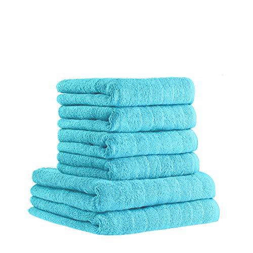 etérea 6 TLG. Handtuch Set Avelie - 100% Baumwolle - 550 g/m² 4 x Handtücher, 2 x Duschtücher - Türkis