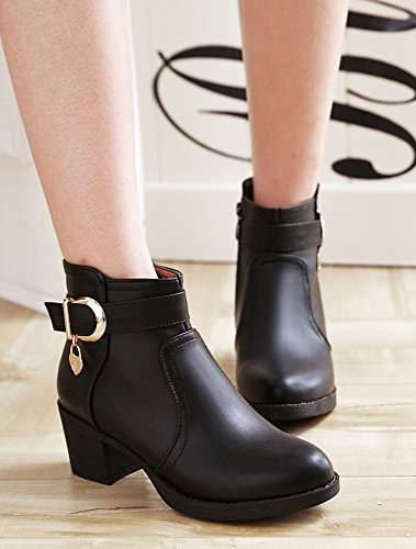 Bottines Aisun Mode Femme Fermeture Boots Low Eclair Noir xZ6Tq