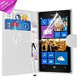 Blanc PU étui portefeuille à rabat en cuir pour Nokia Lumia 925avec film protecteur d'écran et stylet stylo