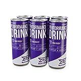 Runtime Performance Drink Berry - volle Power, Energie und Fokus für Arbeit, Sport, Studium und Gaming, mit Koffein und Grüner Tee Extrakt, Energy Drink, 6 x 150 ml Dosen, 6er Palette