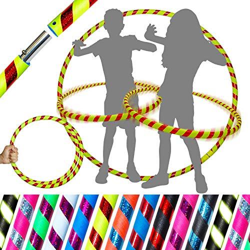 Pro Kids Hula-Hoop für junge Erwachsene und Kinder! (10 Farben Ultra-Griff / Glitzer-Deko) Reise-Hula-Hoop ideal für Reifentanz, Fitnesstraining und Zirkus! Größe 85cm Gewicht 420g (Gelb/Rot Glitter)