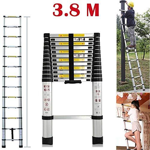 Teleskopleiter 3.8M Alu Leiter Ausziehbar Haushaltsleiter Teleskopleiter Aluminium Klappleiter Ausziehleiter Mehrzweckleiter -Maximale Belastbarkeit 150 kg