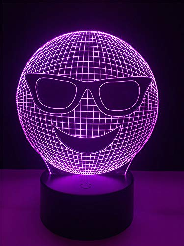3D Nachtlicht Dekorative beleuchtung kabel 3d led usb cool emoji tragen sonnenbrille geformt schlafzimmer nachtlicht multicolor tischlampe freunde geschenke LXKEM
