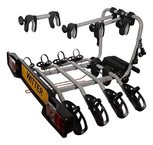 Witter Towbars ZX304EU Fahrradträger für die Anhängerkupplung - Kupplungsfahrradträger für 4 Fahrräder abklappbar - Heckträger inkl. 7- bzw. 13-poligem Anschluss mit 60kg Zuladung